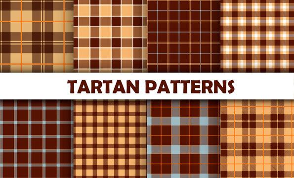 Set classic tartan seamless pattern.