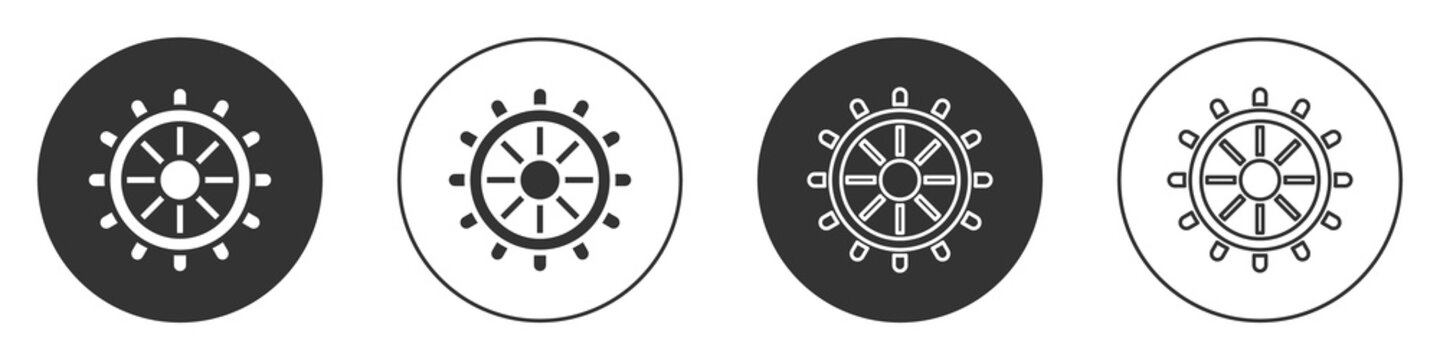 Black Ship steering wheel icon isolated on white background. Circle button. Vector.