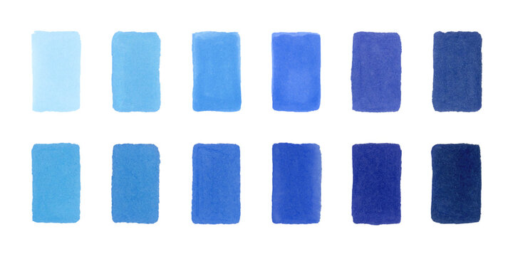 Sketch palette of Japanese markers with alcohol ink - a collection of blue colors. Handdrawn stripes and spots of different shades isolated on a white background. Bitmap stock illustration