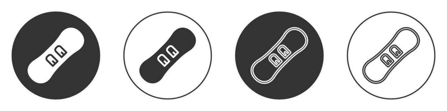 Black Snowboard icon isolated on white background. Snowboarding board icon. Extreme sport. Sport equipment. Circle button. Vector.