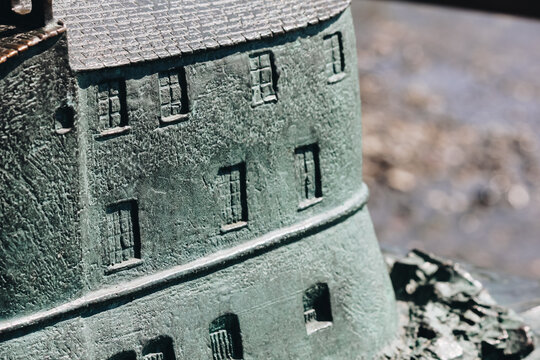 close up of bronze model of the castle in Rapallo - Italy
