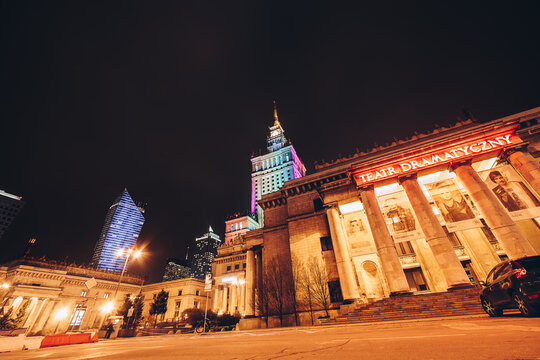 WARSAW, POLAND - Mar, 2018 Entrance of the dramaturgical theater at The Palace of Science and Culture at night