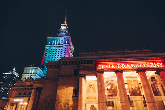 WARSAW, POLAND - Mar, 2018 Entrance of the dramaturgical theater at The Palace of Science and Culture at night .