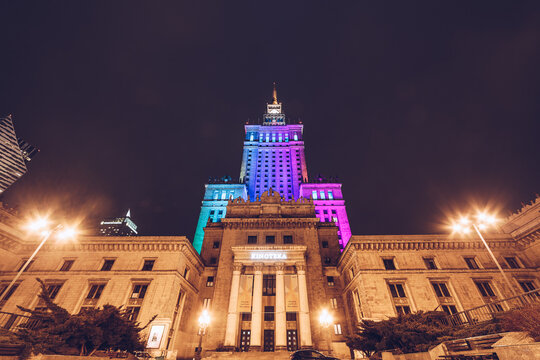 WARSAW, POLAND - Mar, 2018 Entrance of Kinoteka at The Palace of Science and Culture in the city center at night.