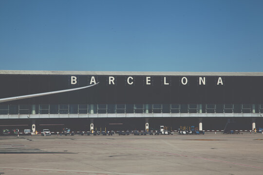 Travelling to Spain conceptual barcellona airport vintage color grading.