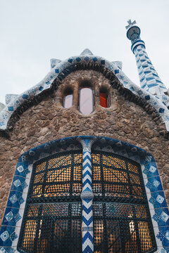 Detail of colorful mosaic work of Park Guell. In 1984 UNESCO declared the park a World Heritage Site under Works of Antoni Gaudi.