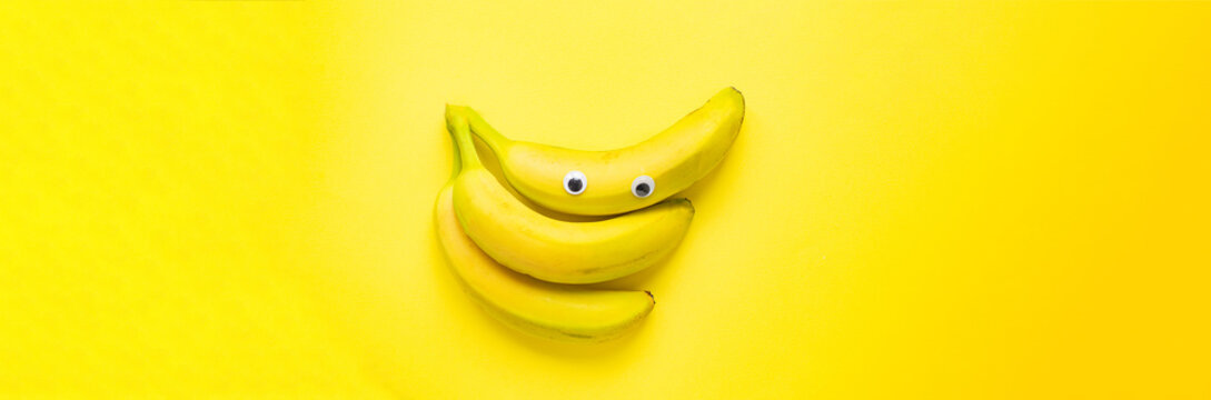 fresh bananas on the table for healthy meal snack outdoor top view copy space for text food background image