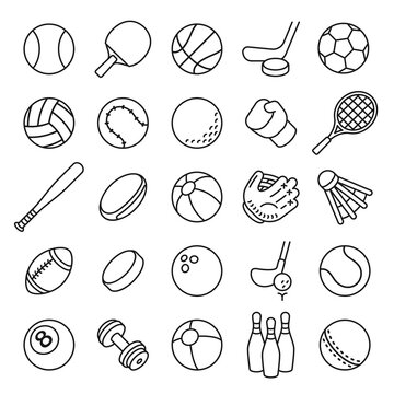 Ball sports line icons. Outline equipment for football, tennis, badminton and soccer, baseball and boxing. Thin linear game vector set. Ball football, sport game , handball and volleyball illustration