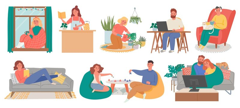 Relax at home. People meditate, cook, read, watch tv and do hobby in house. Quarantine lockdown life, activities or home weekend vector set. Illustration lockdown quarantine, relaxation at apartment