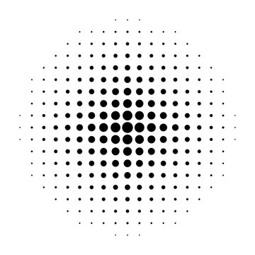 Halftone dot. Pop art circle. Round faded pattern. Raster fade texture. Black dots half tone for design comic prints. Radial fadew gradation for halftone effect. Abstract popart background. Vector
