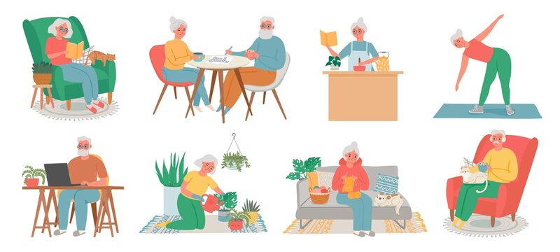 Old people home hobby. Senior men, women and couple work on computer, read, fitness, cook, plant care and knite. Elderly in house vector set. Illustration old elderly grandmother and senior pensioner