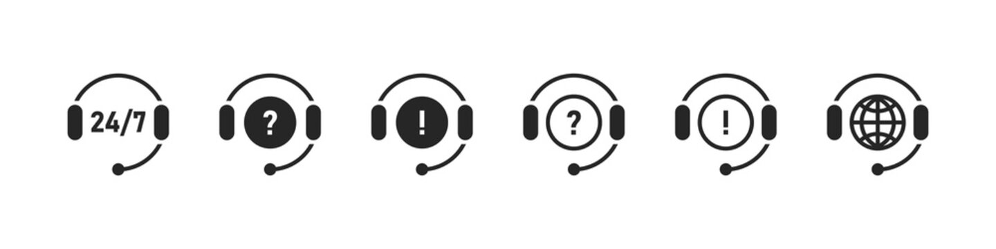 Support icons. Online support icons set. Service open 24 h hours a day and 7 days a week. Vector illustration