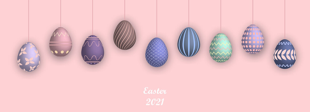 Easter 2021 poster with empty space. Banner template with Easter eggs on the pink background. Promotion sale and shopping template for Easter. Vector illustration. Isolated 3d easter eggs