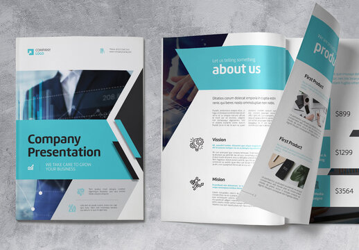 Business Company Profile Brochure with Blue and Grey Accents
