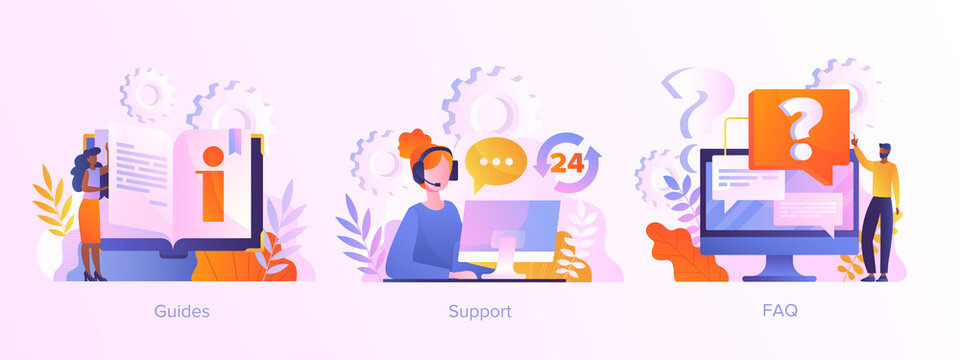 Website menu bar elements. Guides, FAQ and support landing page sections. Company information, user interface, UI element, customer help, contact us abstract metaphor. Set of vector illustrations