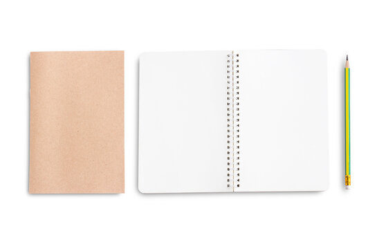 Top view of notebook or blank notepad isolated on white background.