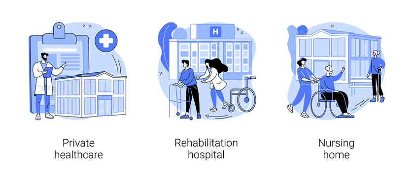 Medical facility abstract concept vector illustration set. Private healthcare, rehabilitation hospital, nursing home, medical condition, residential home, physical therapy abstract metaphor.