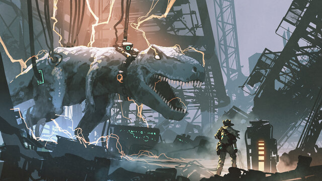 a hunter looked at the captured T-rex in an abandoned lab, digital art style, illustration painting