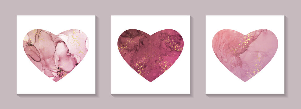 Set of pink hearts for st valentine's day with watercolor or alcohol ink texture on a white background.