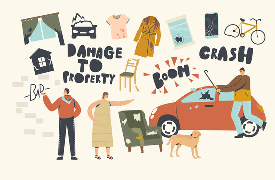 Damage to Property Concept. Looters Painting Walls, Crash Car Window for Fun, Angry Woman Scold Dog for Mess in Room