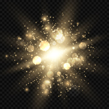 Star burst with sparkles and bokeh. Golden light flare effect with stars, sparkles and glitter isolated on transparent background. Vector illustration of shiny glow star with stardust, gold lens flare