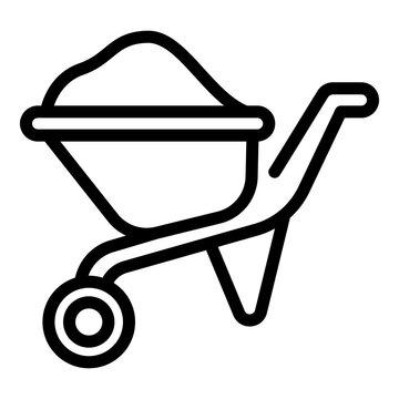 Wheelbarrow icon. Outline wheelbarrow vector icon for web design isolated on white background