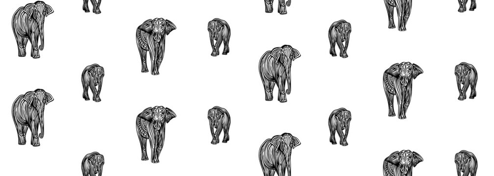 Stylized decorative hand drawn elephant seamless pattern. Endless vector black ink indian wild animal drawing isolated on white background. Graphic african wildlife illustration