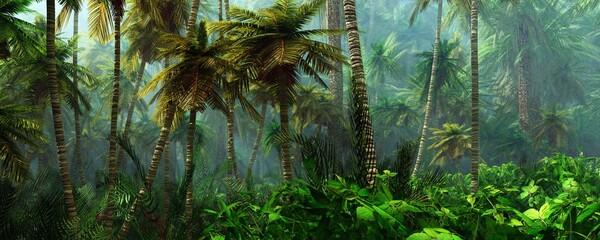 Obraz Jungle, beautiful rainforest in the fog, palm trees in the haze, jungle in the morning in the fog - fototapety do salonu