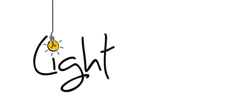 Slogan light. Comic brain electric lamp idea doodle. FAQ, business loading concept. Fun flat vector light bulb ideas icon or sign ideas. Brilliant lightbulb,  Positive, motivation brainstorm quote.