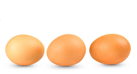 Row of eggs isolated on white background