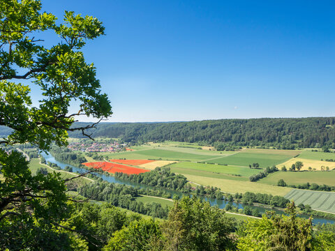 Germany, Bavaria, Clear sky over countryside fields of Altmuhltal