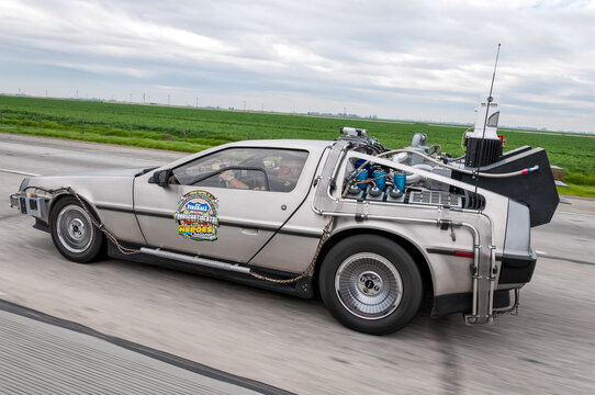 """DMC DeLorean with parts added and inspired by the movie trylogy """"Back to the future"""" car during Fireball Transcontinental Run 2010 event. Photo taken on the highway to Los Angeles."""