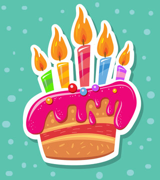 Sticker with birthday cake and candles