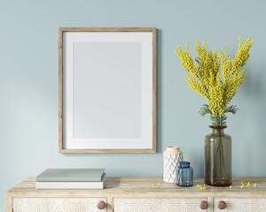 Obraz Interior Frame Mockup with wooden frame, vase with mimosa bra… - fototapety do salonu