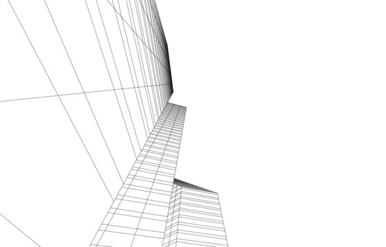 abstract linear architecture vector 3d illustration