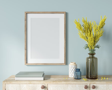 Interior Frame Mockup with wooden frame, vase with mimosa bra…