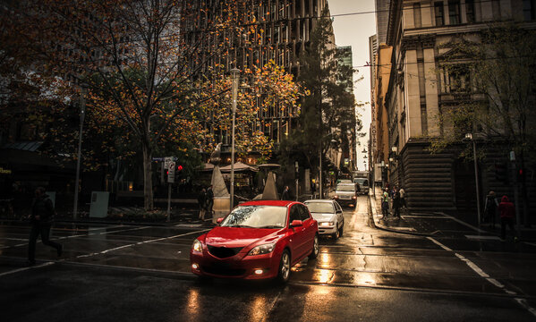 The Melbourne CBD at dawn - cars heading to work