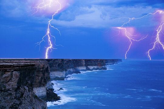 Lightning storm over the arid Nullarbor Plain and the Great Australian Bight