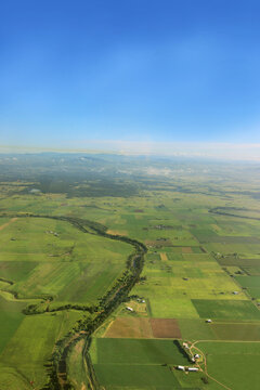 Looking down on hunter river and farmland from the sky