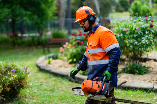 Tradie workman with chainsaw in garden