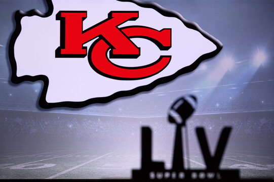 TAMPA BAY, USA, JANUARY, 25. 2021: Super Bowl LV, the 55th Super Bowl 2020, Kansas City Chiefs logo on screen in background, NFL final
