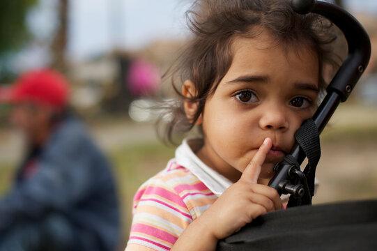 Three Year Old Aboriginal Girl on Blurred Background