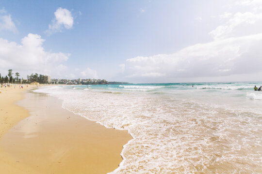View along Manly beach on a sunny day