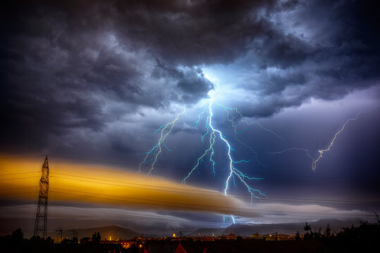 storm over the city in Vic