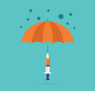 Vaccination concept design. Time to vaccinate banner. Umbrella-shaped syringe with vaccine for COVID-19, flu or influenza