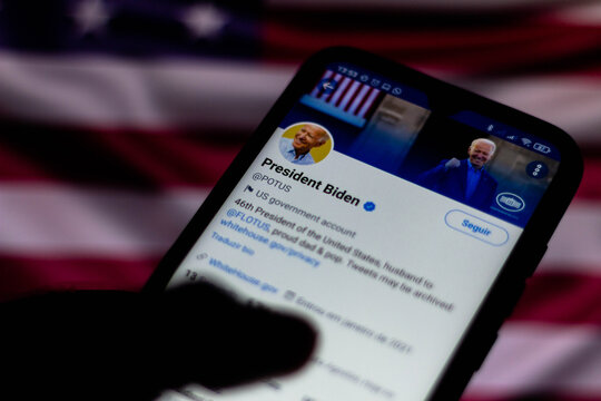 January 25, 2021, Brazil. In this photo illustration the official page of the President of the United States, Joe Biden, on Twitter seen displayed on a smartphone.