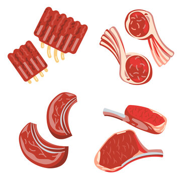Raw pork, lamb, beef chops, rack