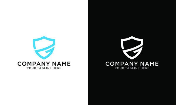 Vector logo design, shield icon, initials g