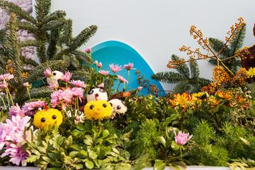Animal chrysanthemum, Flower ball, cute animal. Flower arrangement.