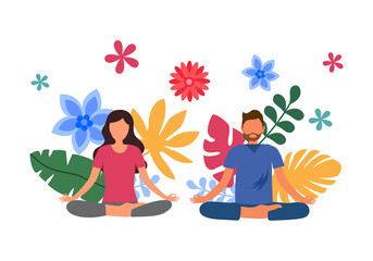 Obraz Man and woman doing meditation for relaxation and good health with colorful leaves on background. Yoga pose exercise. Mind power. Mindfulness. Mental health. - fototapety do salonu